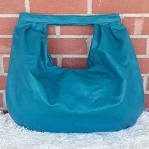 Vintage 80s funky shaped vinyl purse turquoise